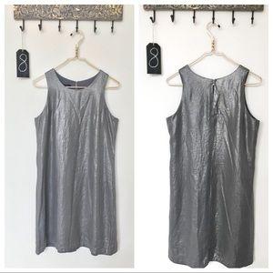 Yansi Fugel | Metallic Pewter Shift Mini-Dress | 8